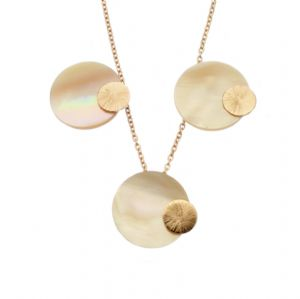 Rose Gold Pendant & Earring Set Pink Shell Eclipse Design